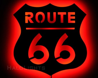 Lighted Route 66 Sign - LED Backlit Route 66 Wall Art Signage