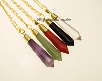 Hexagon Spike Gemstone Pendant Necklace Gold Edge Opal Rose Quartz Tiger's Eye Agate Natural Stone Semi Precious Stones  TNK-0019