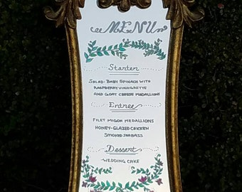 Gold gilded mirror beautiful for menu, bar sign , welcome mirror sign and dessert bar