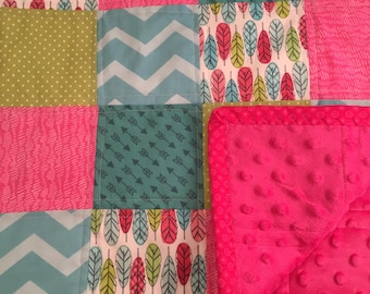 SALE - SPRING CLEARANCE -Feather and Arrow Baby Quilt/Feather/Arrow/Chevron/ Polka Dot Baby Blanket/Hot Pink Minky Blanket