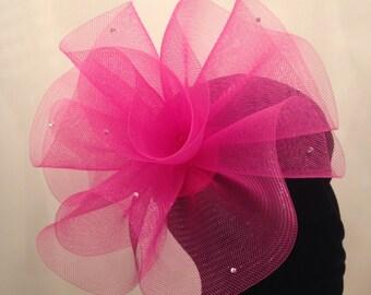 Cerise pink crin Fascinator with diamontes.