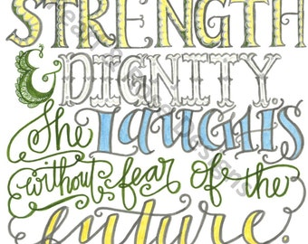 Bible verse printable - hand drawn, Proverbs 31:25 She is Clothed In Strength, INSTANT DOWNLOAD