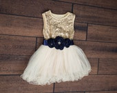 Cream Tulle Flower Girl Dress, Gold sequin dress, Cream Tulle, Yellow Navy Cream Wedding, Fuchsia Sash Belt, glitter dress, Tutu Dress