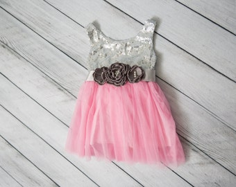 SALE Pink Silver Flower Girl Dress, Silver Tulle Wedding dress, Rose Tutu Dress, Coral, Ivory, Navy, Pink, Rose, Mint, Green, Cream Sash