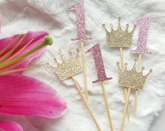 12x one pink and gold cupcake topper, first birthday, cake smash, birthday decor