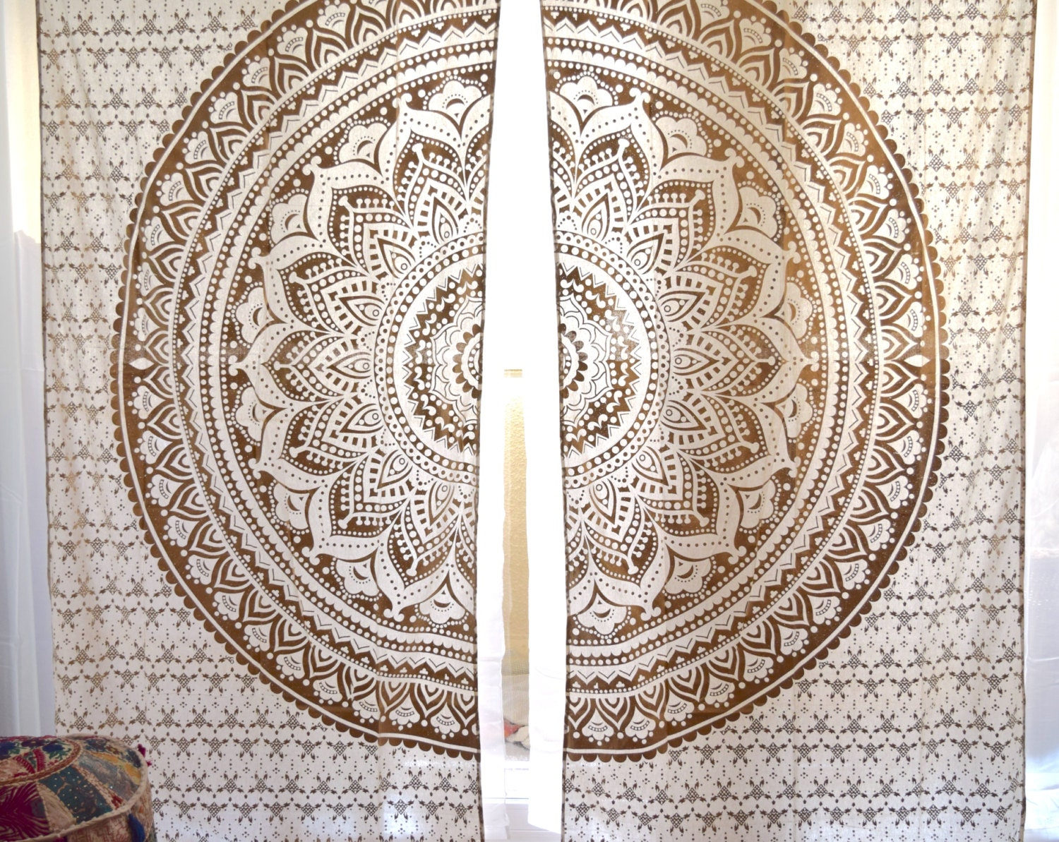 Boho window curtains - Gold Or Silver Mandala Tapestry Curtains Boho Curtains Tapestry Drapes Mandala Window Treatment Indian Curtains Boho Decor