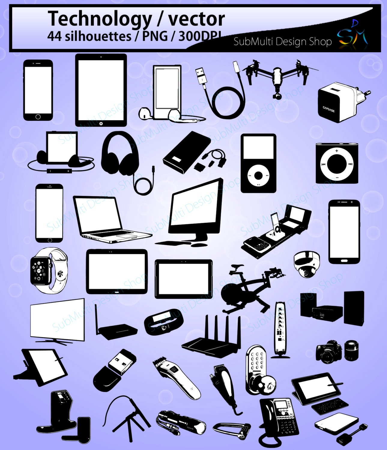 technology silhouette / 44 Technology / electronics / phone  technology silh...