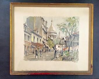 Herbelot Paris Scene Watercolor Print; Signed Herbelot Print; Vintage Herbelot; Paris Street Scene; Numbered Herbelot Print