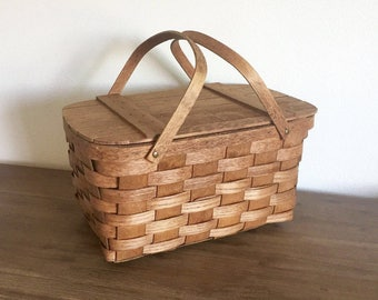 Picnic Basket; Vintage Basketville Wood Picnic Basket; Vintage Picnic Basket; Wood Picnic Basket; Woven Wood Basket; Vintage Wood Basket
