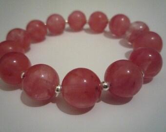 Bracelet quartz tourmaline watermelon