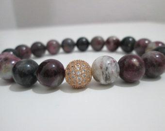 Tourmaline bracelet, semi-precious stones,Gemstone bracelet,Tourmaline bracelet,Woman bracelet,Gold micropave cubic zirconia,Gift for her