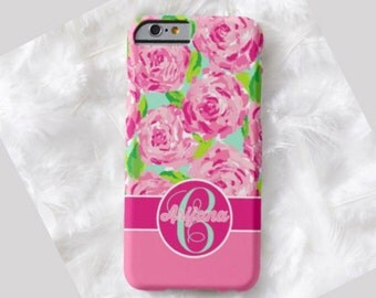 Floral Monogram Cell Phone Case, iPhone 6 case, Note 4 cell case, iPhone 6 plus cell case, iPhone 6 plus case, Galaxy Samsung S6 #411