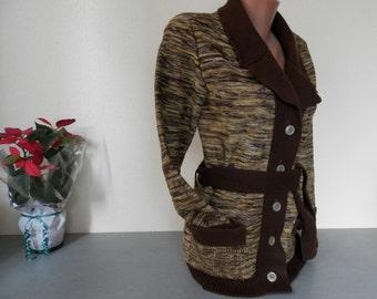 Womens Retro Cardigan / Vintage 1970s Womens Sweater / Vintage Knitted Cardigan / Vintage Wool Jacket / Cardigan Sweater  /  Retro Fashion.