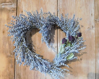 Lavender and rose wreath heart