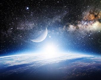 Galaxy Backdrop - night sky, astronomy, shiny stars, universe - Printed Fabric Photography Background G0896