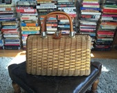 1950's wicker bag with lucite handles