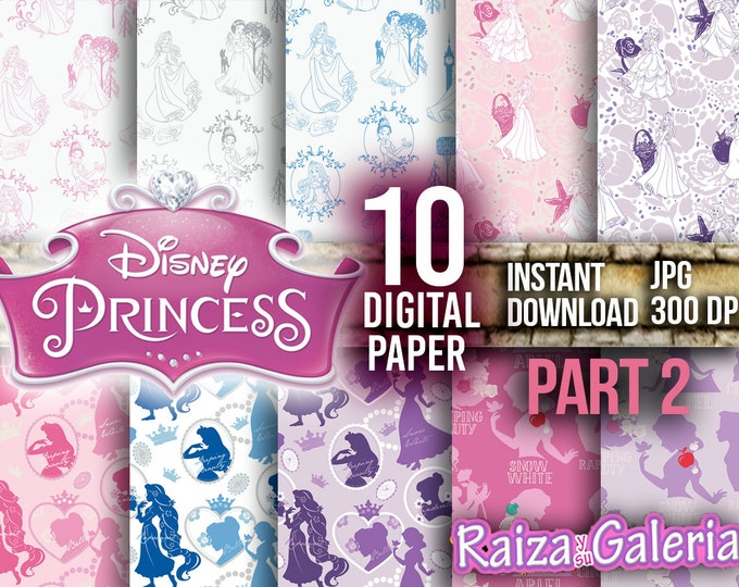 AWESOME Disney PRINCESS Digital Paper. PART 2 Instant Download - Scrapbooking - Princess Printable Paper