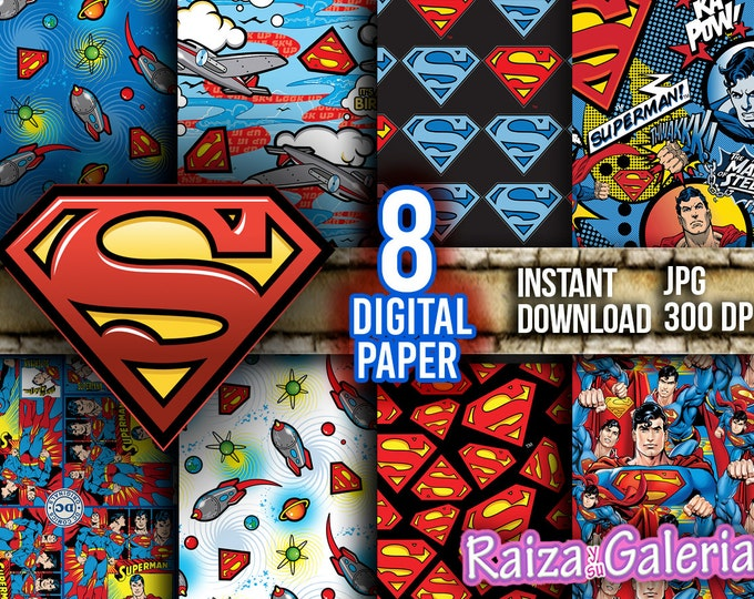 AWESOME DC Superman Digital Paper. Instant Download - Scrapbooking - Superman Printable Paper Craft!