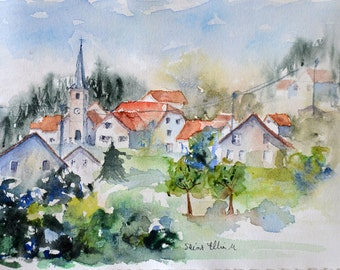 Original watercolor french village with houses and church, original painting french village around the church