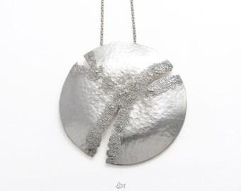 Big Sterling Silver Pendant, Big Glitter Pendant, Statement Necklace, Glitter texture, Silver glitter, Boho Pendant, Contemporary Jewelry