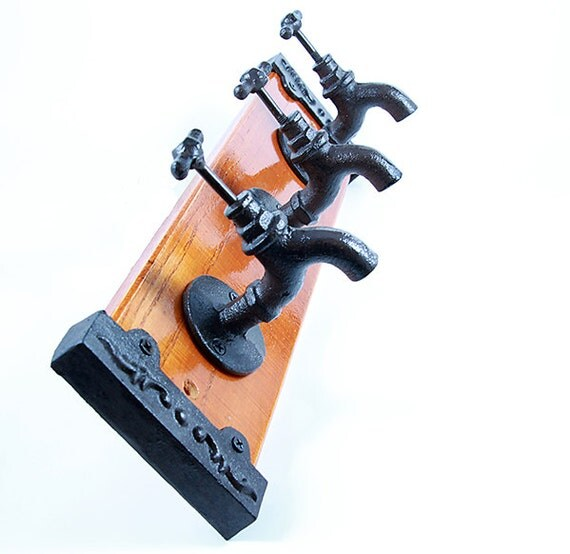 Faucet Wall Hooks Primitive Cast Iron Home Decor Heavy Durable Shabby Chic