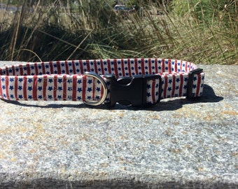 Stars and Stripes Dog Collar and matching Leash Fourth of July, Patriotic collar, Red,White,Blue In Stock ready to ship