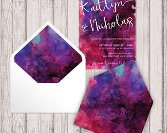 Envelope Liners - Digital - Print At Home - Ruby Berry Watercolour Envelope Liners - Printable Envelope Liners