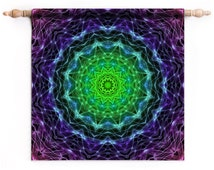 Trippy Tapestry Wall Hanging, Psychedelic Tapestry, Small Trippy Tapestry Wall Hanging, DMT LSD Trippy Decor on Cannabis Fabric | SWH130 ॐ