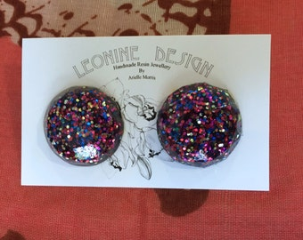 Rainbow Disco Gem Studs