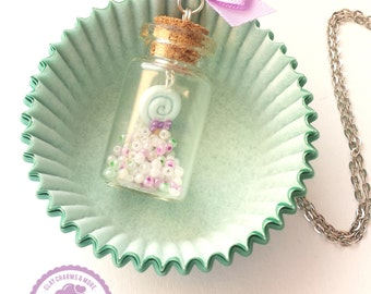 Lollipop in a bottle necklace. Food jewelry, miniature food, clay jewelry, beads, cute jewelry, miniature bottle.