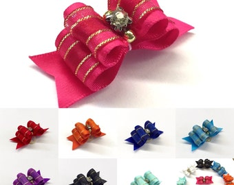 10 colors! Handmade Puffy Royal Yorkie Maltese Shih Tzu Hair Bow