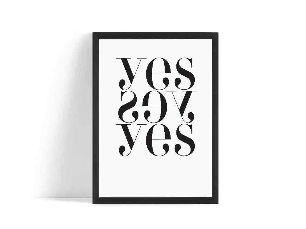 yes yes yes scandinavian poster affiche scandinave. Black Bedroom Furniture Sets. Home Design Ideas