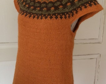 Icelandic Wool Vest - Hand Knitted With Icelandic Wool