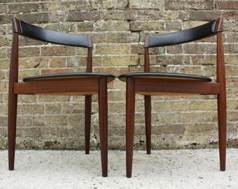 SOLD: Two Danish Modern Dining Chairs By Hans Olsen For Frem Rojle Mid Century Retro Vintage Teak 50s 60s 70s