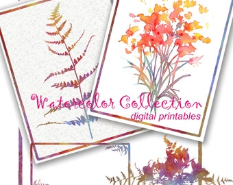 Lot of Susan's Printables Clip art, Note Cards and borders WATERCOLOR nature designs for Weddings, labels and more