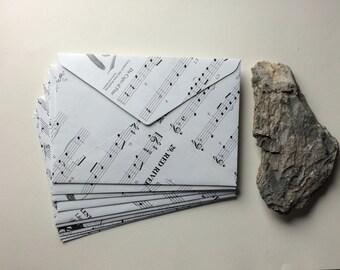 Set of 10 UPCYCLED MUSICAL ENVELOPES - Music note Envelopes - Handmade & EcoFriendly Stationery - For him - For her - Boyfriend gift girlfri