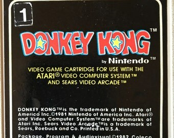 Vintage NINTENDO Donkey Kong Video Game - Atari Computer System - Arcade Cartridge - Retro - Coleco - Made in USA - Collectible Gift