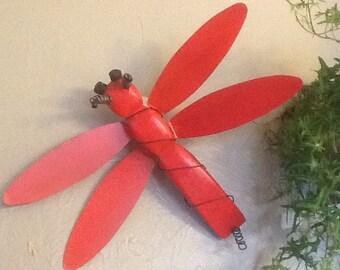 FREE SHIPPING - Wood Dragonfly, inside, outside, garden decor, wall decor, hanging, yard art, wall art, metal wings