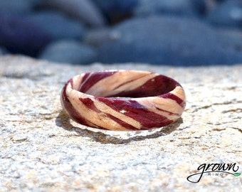 Purpleheart and Maple Spiral - Wood ring, wood ring women, wooden ring, wood ring men, wood engagement ring, wood rings for women