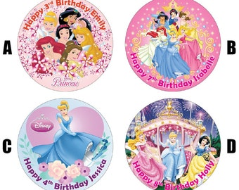 "Disney Princess 7.5"" Edible Birthday Cake Topper Decoration Personalised"