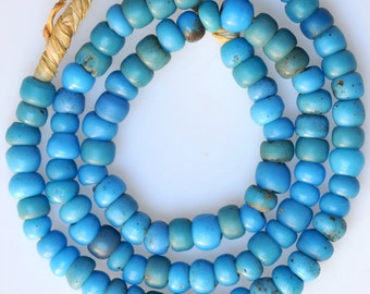 Antique Venetian Blue, Red or White Glass Padre Beads - Vintage African Trade Beads - 26 Inch Strand