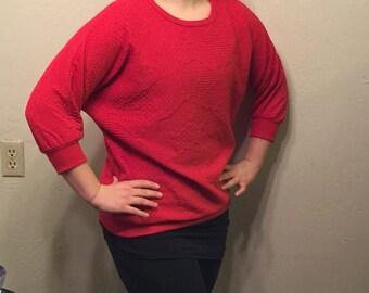 Red Textured Baggy Sweatshirt
