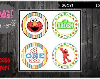 Elmo, Sesame Street Cupcake Toppers, Elmo Toppers, Elmo Party Printables