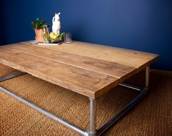 Reclaimed Coffee Table with Pipe Base