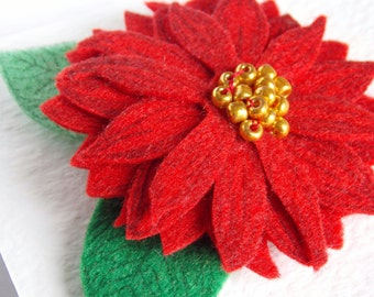 Red Felt Flower Brooch