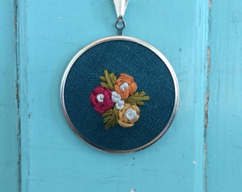 Embroidered Floral Spray Pendant