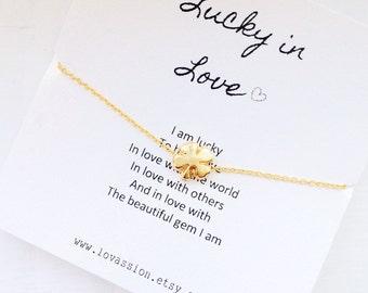 Four Leaf Clover Bracelet, tiny four leaf clover bracelet, clover bracelet, friendship bracelet, lucky bracelet, 14k