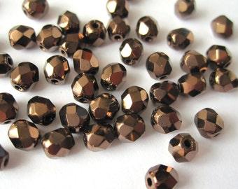 50pcs 4mm dark bronze Czech beads