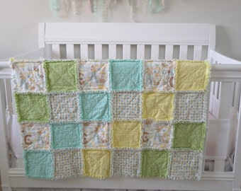 Baby Rag Blanket Gender Neutral, pastel colors, green and yellow blanket, baby gift, nursery layette, READY TO SHIP
