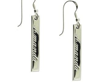 925 Sterling Silver Vertical Bar Monogram Personalized Name Earrings